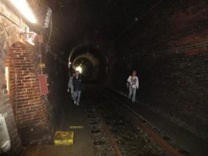 ひんやりとした、大日影トンネル遊歩道の内部。中ほどで引き返しました。